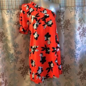 Brand new one shoulder short sleeve floral dress